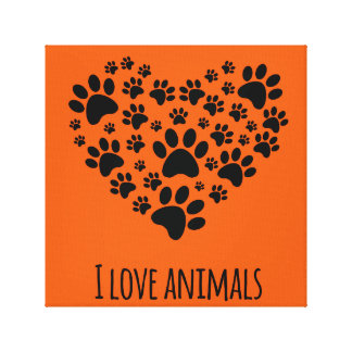 I love animals paws heart illustration gallery wrapped canvas