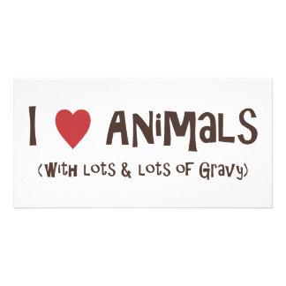 I Love Animals Customized Photo Card