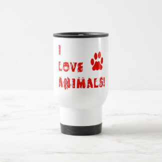 I Love Animals Stainless Steel Travel Mug