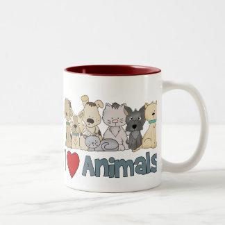 I Love Animals Two-Tone Coffee Mug