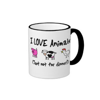 I Love Animals Vegetarian Ringer Mug