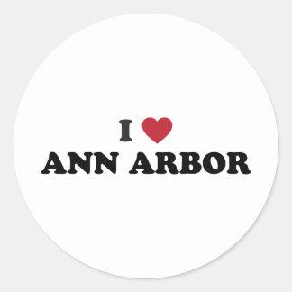 I Love Ann Arbor Michigan Round Sticker