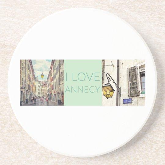 """I Love Annecy"" Sandstone Coaster"