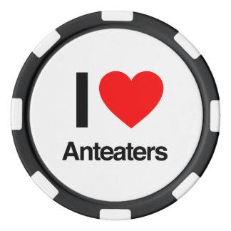 i love anteaters set of poker chips