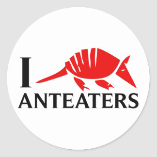 I Love Anteaters Round Stickers