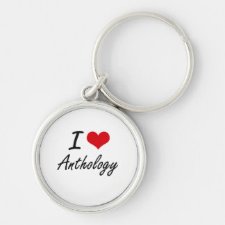 I Love Anthology Artistic Design Silver-Colored Round Key Ring