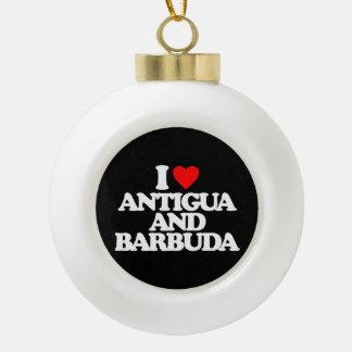 I LOVE ANTIGUA AND BARBUDA CERAMIC BALL DECORATION