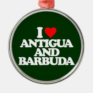 I LOVE ANTIGUA AND BARBUDA ROUND METAL CHRISTMAS ORNAMENT