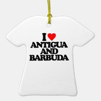 I LOVE ANTIGUA AND BARBUDA CHRISTMAS ORNAMENTS