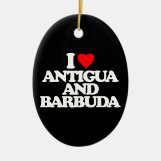 I LOVE ANTIGUA AND BARBUDA Double-Sided OVAL CERAMIC CHRISTMAS ORNAMENT