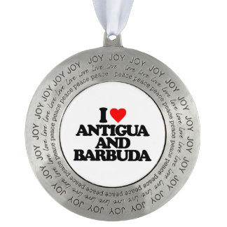 I LOVE ANTIGUA AND BARBUDA ROUND PEWTER ORNAMENT