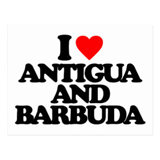 I LOVE ANTIGUA AND BARBUDA POSTCARD