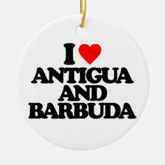 I LOVE ANTIGUA AND BARBUDA ROUND CERAMIC DECORATION