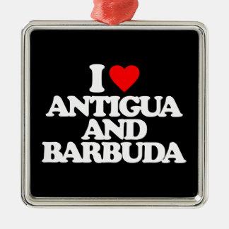 I LOVE ANTIGUA AND BARBUDA Silver-Colored SQUARE DECORATION