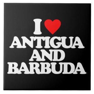 I LOVE ANTIGUA AND BARBUDA CERAMIC TILE