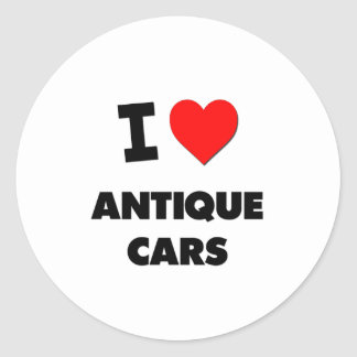 I Love Antique Cars Round Stickers