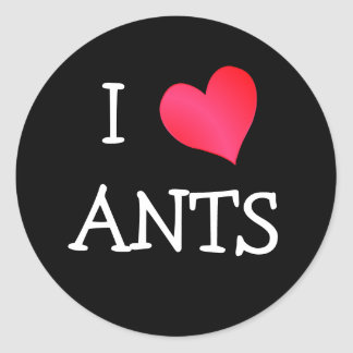 I Love Ants Classic Round Sticker