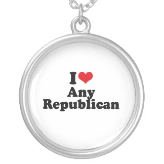 I LOVE ANY REPUBLICAN ROUND PENDANT NECKLACE