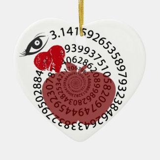 "I Love Apple ""Pi"" Pie Math Lovers! Ceramic Heart Decoration"