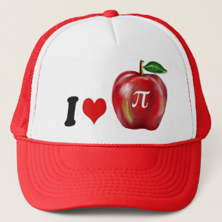 I Love Apple Pie or Pi Red Heart Green Leaf Gold Trucker Hat