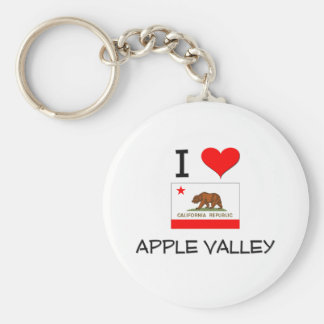 I Love APPLE VALLEY California Basic Round Button Key Ring