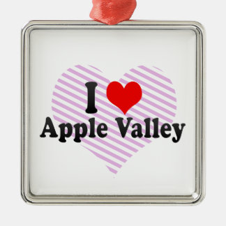 I Love Apple Valley, United States Silver-Colored Square Decoration