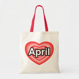 I love April. I love you April. Heart Canvas Bags