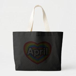 I love April. I love you April. Heart Canvas Bag