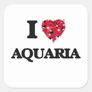 I Love Aquaria Square Sticker