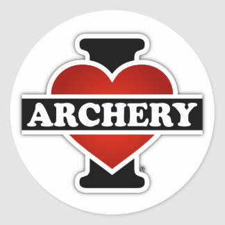 I Love Archery Round Sticker