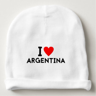 i love Argentina country nation heart symbol text Baby Beanie