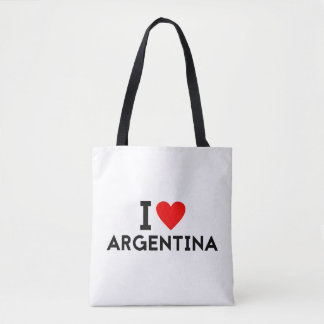 i love Argentina country nation heart symbol text Tote Bag