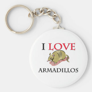 I Love Armadillos Basic Round Button Key Ring