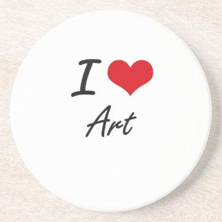 I Love Art Artistic Design Coaster