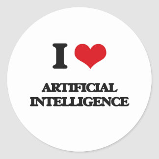 I Love Artificial Intelligence Round Sticker