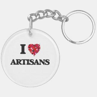 I Love Artisans Double-Sided Round Acrylic Key Ring
