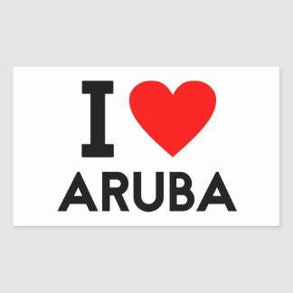 i love Aruba country nation heart symbol text Rectangular Sticker