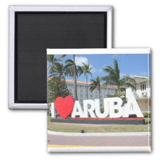 I love Aruba - One happy Island Square Magnet