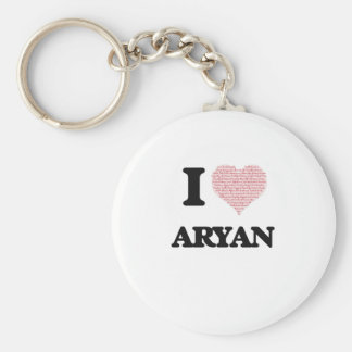 I Love Aryan (Heart Made from Love words) Basic Round Button Key Ring