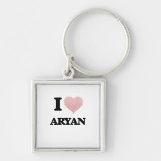 I Love Aryan (Heart Made from Love words) Silver-Colored Square Key Ring