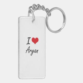 I Love Aryan Double-Sided Rectangular Acrylic Key Ring