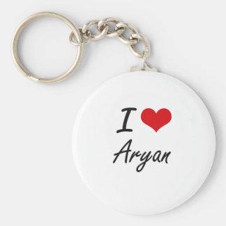 I Love Aryan Basic Round Button Key Ring