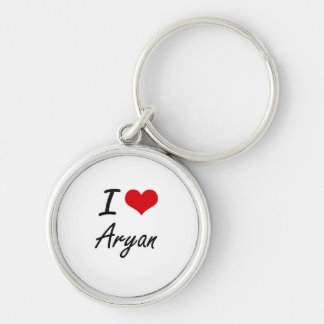 I Love Aryan Silver-Colored Round Key Ring