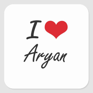 I Love Aryan Square Sticker