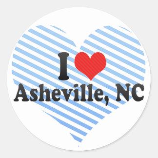 I Love Asheville, NC Round Sticker