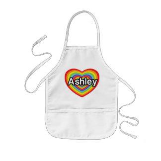 I love Ashley, rainbow heart Kids Apron