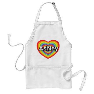 I love Ashley, rainbow heart Standard Apron