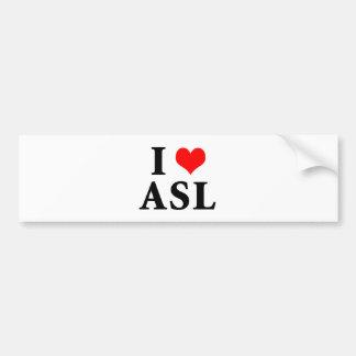 I Love ASL Bumper Sticker