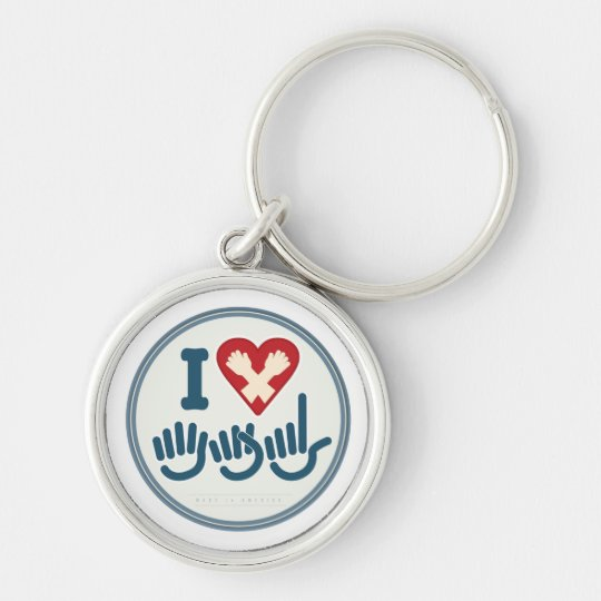 I Love ASL. Silver-Colored Round Key Ring