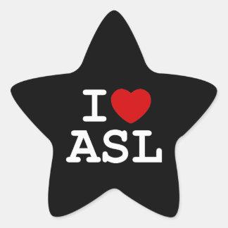 I Love ASL Star Sticker
